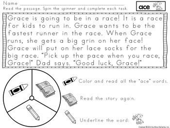 Fluency Spinners Long Vowel Edition
