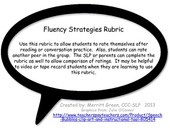 Fluency Strategies Rubric {FREEBIE}