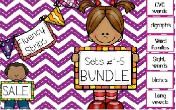 Fluency Strip BUNDLE- focus on sight words, blends, long vowels & .?!