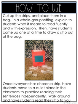 Fluency Strips - An activity to practice reading fluently and with expression