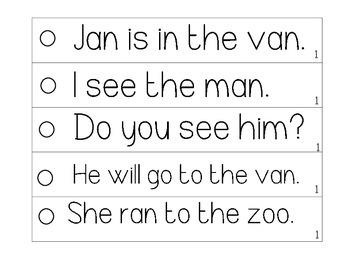 Fluency Strips (Set #1)- focus on sight words, cvc, punctuation