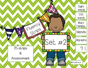 Fluency Strips (Set #2)- focus on sight words, cvc, word familes, & .?!