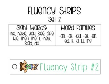 Fluency Strips (Set #2)- focus on sight words, cvc, word familes, & .?!