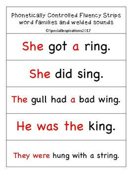 Fluency Strips Word Families/ Welded Sounds (Orton-Gillingham)