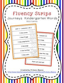 Fluency Strips for Journeys Kindergarten Reading