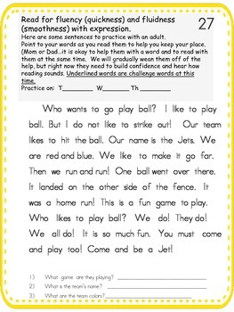 Fluency Study Folder 4 -- Reading and Math Practice for small groups