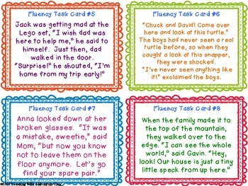 Fluency Task Cards #3 Dialogue { Oral Fluency Reading Practice for Dialogue }