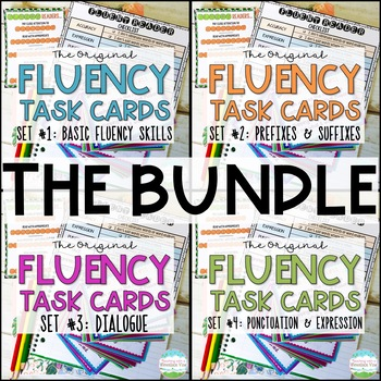 Fluency Task Cards BUNDLE  Oral Reading Fluency Practice | Distance Learning