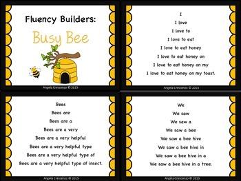 Fluency Task Cards - Busy Bee Theme