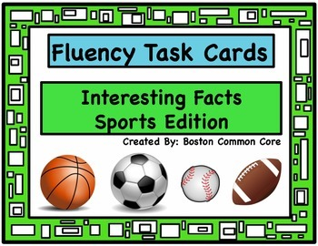 Fluency Task Cards - Interesting Facts Sports Edition