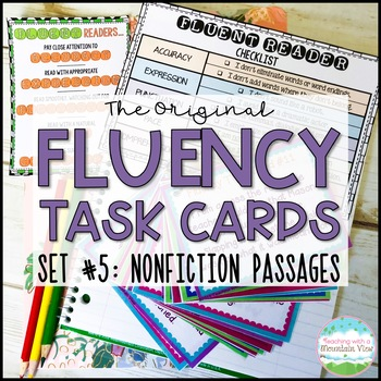 Fluency Task Cards Nonfiction Informational { Oral Reading