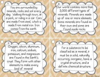 Fluency Task Cards {Rocks & Minerals Facts}