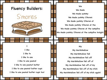 Fluency Task Cards - S'more Theme