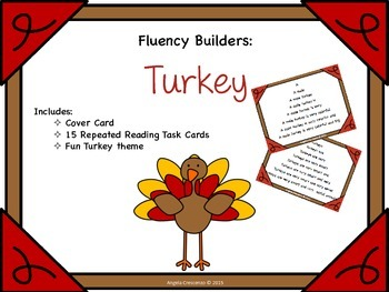 Fluency Task Cards - Turkey Theme