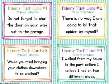 Fluency Task Cards {Types of Sentences}