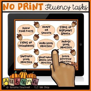 Fluency (Stuttering) Tasks No Print: Autumn