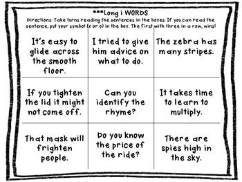 Fluency Tic Tac Toe Boards {long vowels}