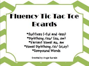 Fluency Tic Tac Toe Boards {au,aw,oi,oy,-ful,-less, ou,ow,