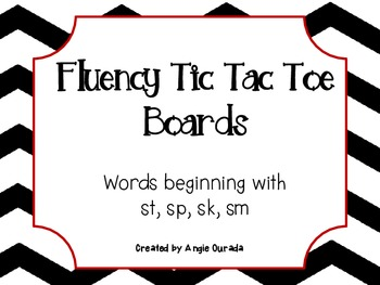 Fluency Tic Tac Toe Boards {words beginning with st,sp,sk,sm}