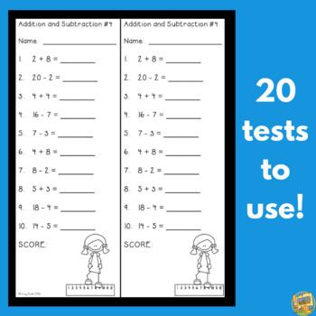 Fluency - Time Tests - Addition and Subtraction to 20!  Data Charts!