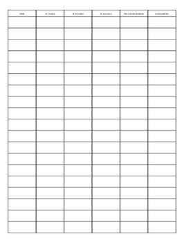 Fluency Tracking Chart