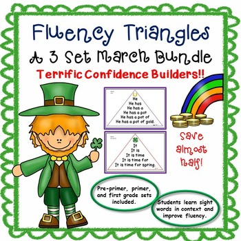 Reading Fluency Activity - Fluency Triangle ® March Bundle