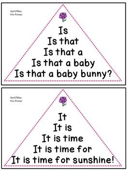 Reading Fluency Activity: Fluency Triangles® - April & May PP Sight Words {RTI}