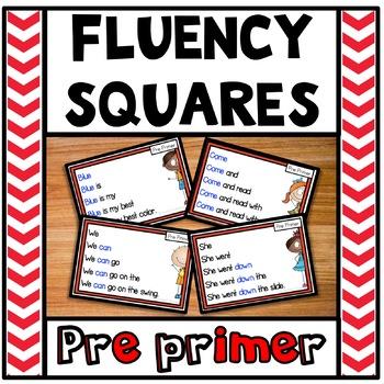 Reading Fluency Squares Pre Primer