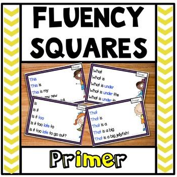Reading Fluency Squares Primer SAMPLE
