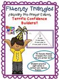 Reading Fluency Activity - Fluency Triangles ® January Pre-Primer Edition