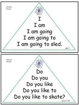 Reading Fluency Activity - Fluency Triangles® January Primer Sight Words {RTI}