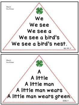 Reading Fluency Activity - Fluency Triangles® March Pre-Primer Sight Words {RTI}