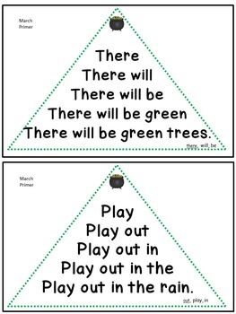 Reading Fluency Activity - Fluency Triangles® March Primer Sight Words {RTI}