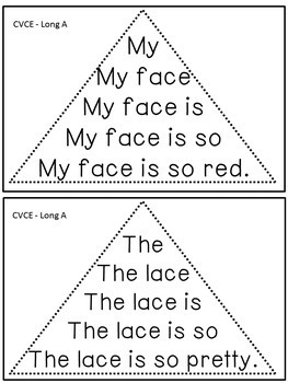 Reading Fluency Activity - Fluency Triangles ® for Long A CVCE Words {RTI}