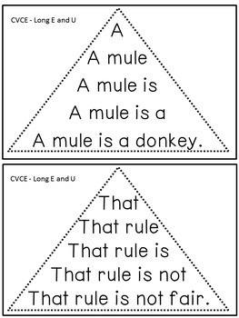 Reading Fluency Activity - Fluency Triangles® for Long E & U CVCE Words {RTI}