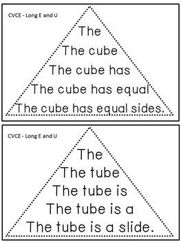 Reading Fluency Activity - Fluency Triangles® for Long E & U CVCE Words {RTI}