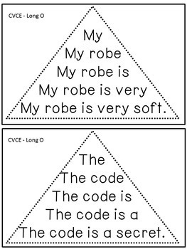 Reading Fluency Activity - Fluency Triangles® for Long O CVCE Words {RTI}