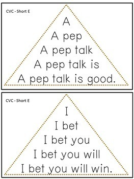 Reading Fluency Activity - Fluency Triangles® for Short E CVC Words {RTI}