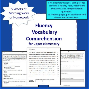 Fluency Vocabulary Comprehension Morning Work, Homework, Test Prep.