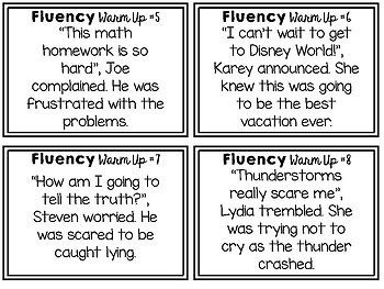 Reading Fluency Center Task Cards *Differentiated!*