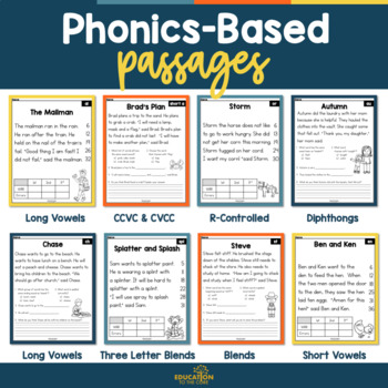Phonics Based Reading Comprehension Passages and Questions, Fluency Passages