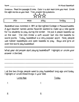 Fluency and Comprehension Passages FREEBIE