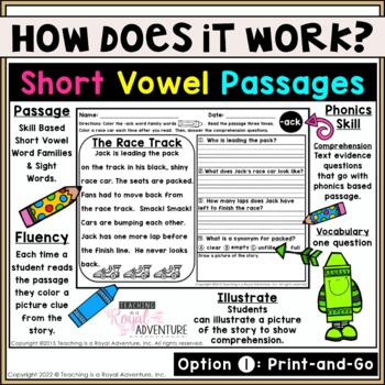 Phonics Reading Comprehension Passages and Questions 2018 UPDATE: (All Year)