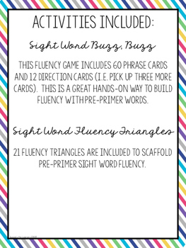 Sight Word Fluency for Little Learners {Pre-Primer Edition}