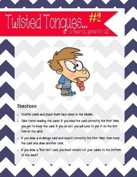 Fluency game- Twisted tongues part 2