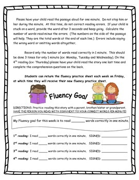 Fluency practice note to parents & tracking log
