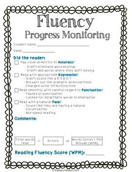 Fluency progress moniotring Wpm