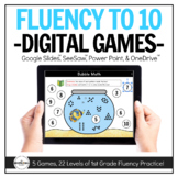 Fluency to 10 Digital Games (1st Grade) for Distance Learning
