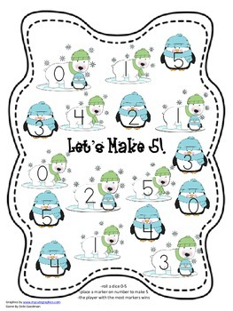 Fluency to 5 Addition Games-Winter Holidays Set-4 different game boards