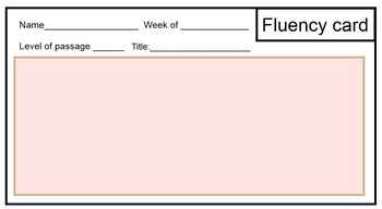 Fluency tracking card